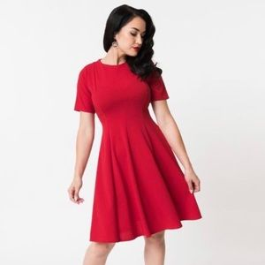 Unique Vintage Retro Fit and Flare Red Dress